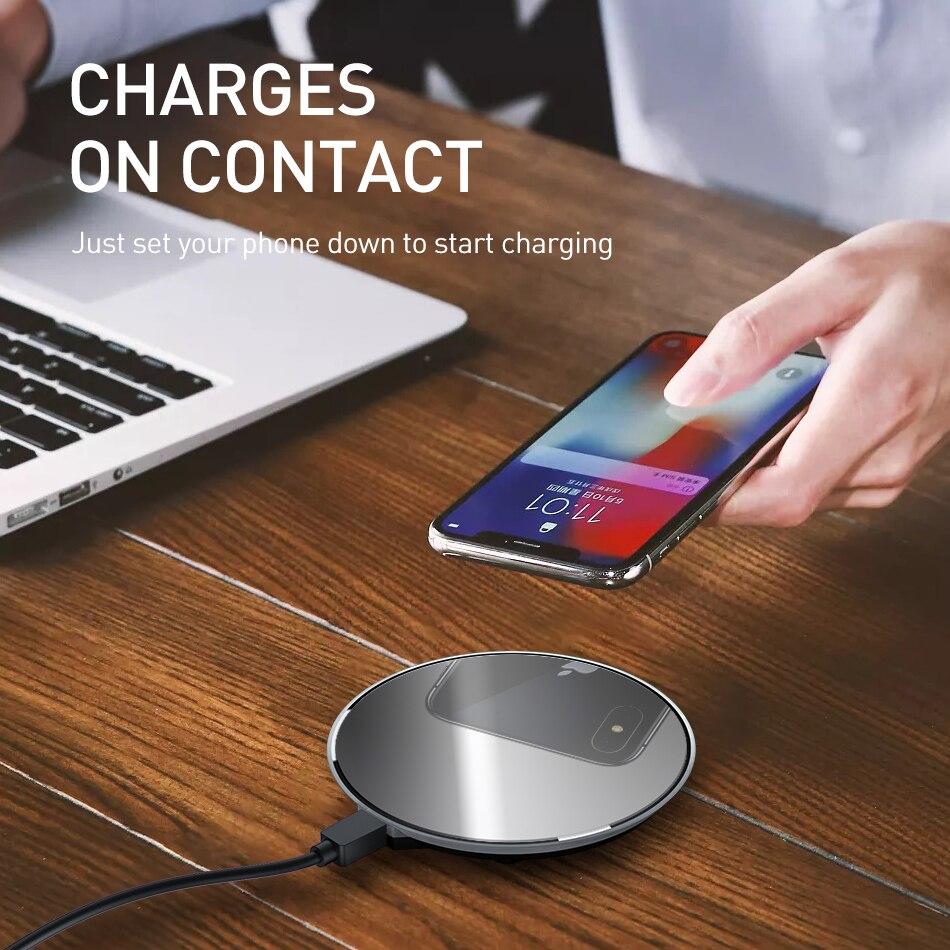 Беспроводное зарядное устройство ROCK 15 Вт Qi для IPhone X, XR, XS, Max, 8, быстрая Беспроводная зарядка для samsung, Xiaomi, huawei, беспроводное зарядное устройст...