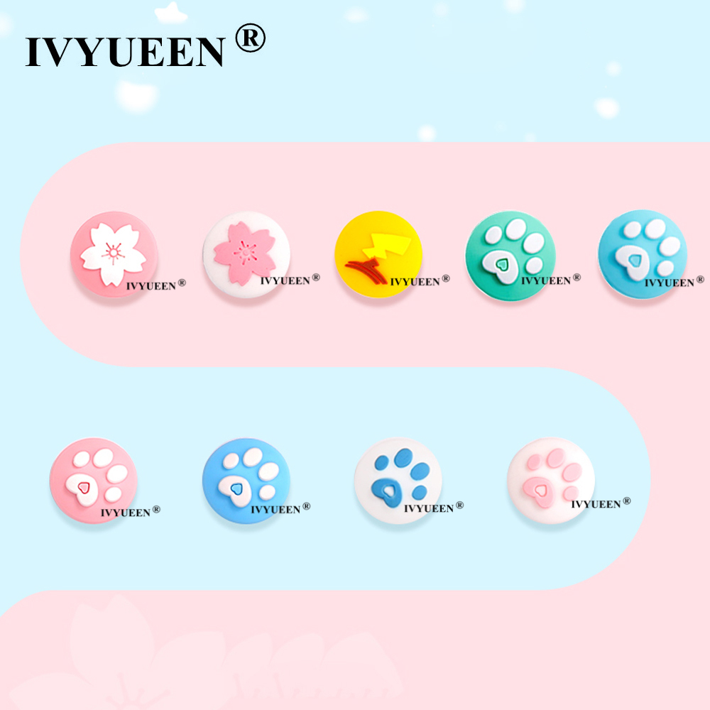 IVYUEEN For Nintend Switch Lite Analog Thumb Stick Grips For Nitendo Swith Joy Con JoyCon Joystick Animals Crossing Cap Cover