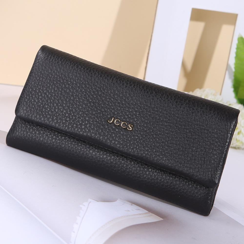 JCCS New Genuine Leather Designer Fold Wallets Famous Brand Women Wallet Fashion Money Bag Ladies Luxury Long Purse JS3230A