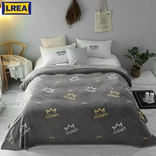 LREA home textile gray comfotable and soft coral fleece fabric blanket for sofa warm bedspread blanket cover on the bed(China)