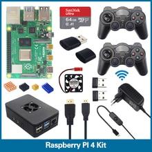 S ROBOTER Raspberry Pi 4 Modell B Spiel Kit Ram1/2/4 GB 2,4G Drahtlose Gamepads + 64G 32G SD Karte + Fan + Micro HDMI RPI3