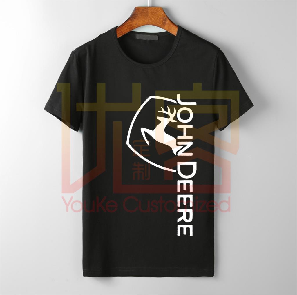 New John Deere Logo Shirt Men's Fashion Hot Selling O-neck 100% Cotton Custom Printed High Quality Brand Unisex T-shirt