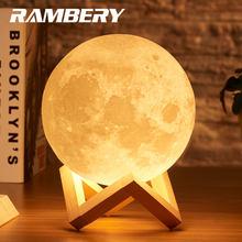 Rambery lâmpada de lua, luz noturna impressão 3d recarregável 3 cores controle de toque 16 cores mudança remota led presente leve luz