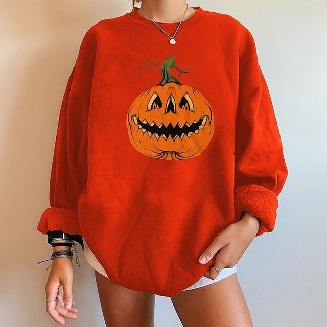 Women's 2021 Halloween Pumpkin Print T-Shirts Casual Long Sleeve Tops Shirts Loose O-Neck Female Tee poleras mujer 1