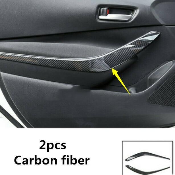 2Pcs ABS Carbon Fiber Car Inner Front Door Armrest Cover Trim Door Handle Cover Trim For Toyota Corolla 2019 2020