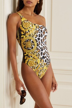 Leopard One-piece Swimsuit One-shoulder Sexy Bikini Bodysuit Beach Monokini Woman Swimming Swimwear