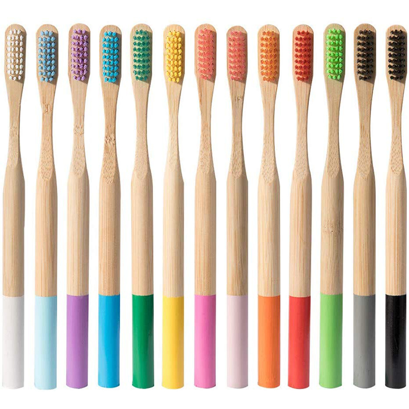 Зубная щетка из бамбука, Экологичная зубная щетка из волокна для здоровья полости рта, низкоуглеродистая, средняя, мягкая щетина, деревянна...