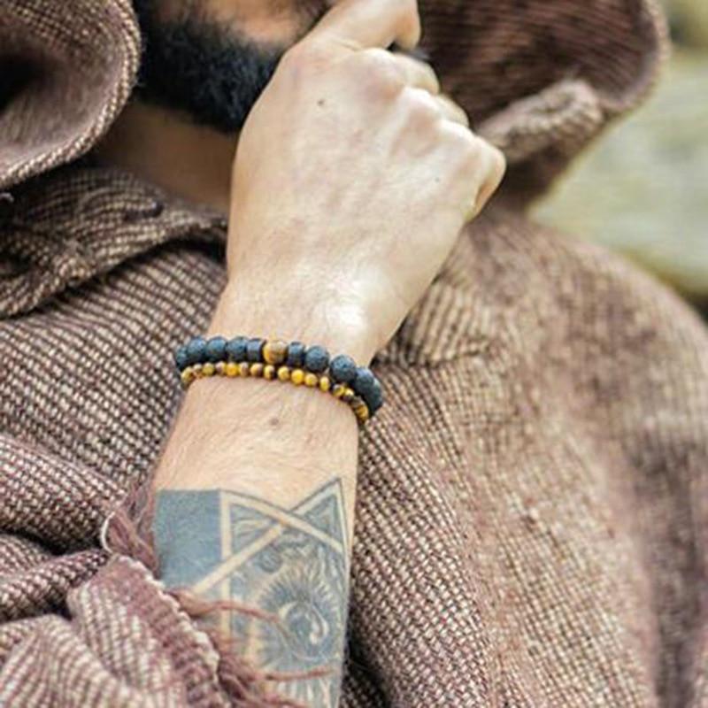 Men Bracelet Natural Moonstone Bead Tibetan Buddha Bracelet chakra Lava Stone Diffuser Bracelets Men Jewelry gift Drop Shipping