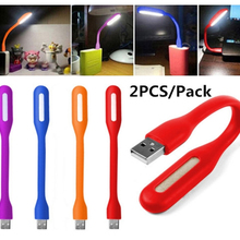 2PCS Mini Bendable Portable Usb Led Light Rechargeable Led Night Light Protect Eye Lamp For Desk Notebook PC Laptop Reading