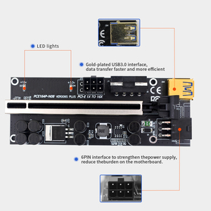 Image 4 - TISHRIC Riser Card PCI PCIE 1X 4X 8X 16X Extender PCI E Graphics Extension Cable VER009S Plus Rise Adapter For GPU Miner Mining