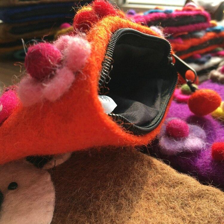 Wool Felt Purse Nepal Cartoon Cute Flower Earphone Bag Small Animal Mini Mori Girl Coins Handbags