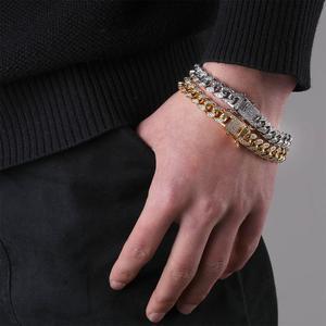 Image 3 - Topgrillz 10mm miami cubana corrente pulseira cobre ouro prata cor iced para fora micro pave cz pulseiras hip hop masculino jóias presentes