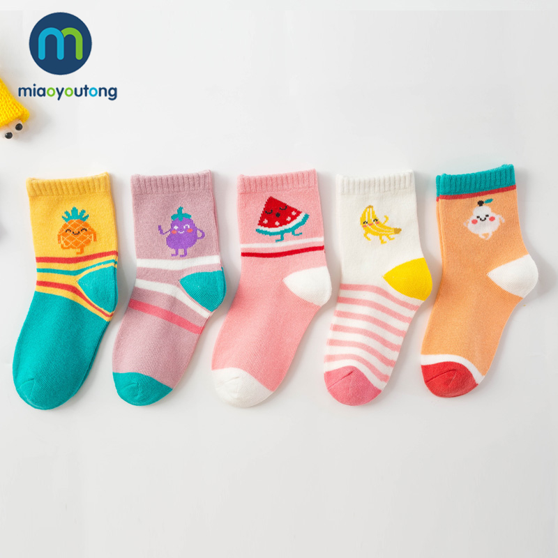 5 Pair Jacquard Fruit Rainbow Candy Comfort Warm Cotton High Quality Child Boy Newborn Socks Kids Girl Baby Socks Miaoyoutong