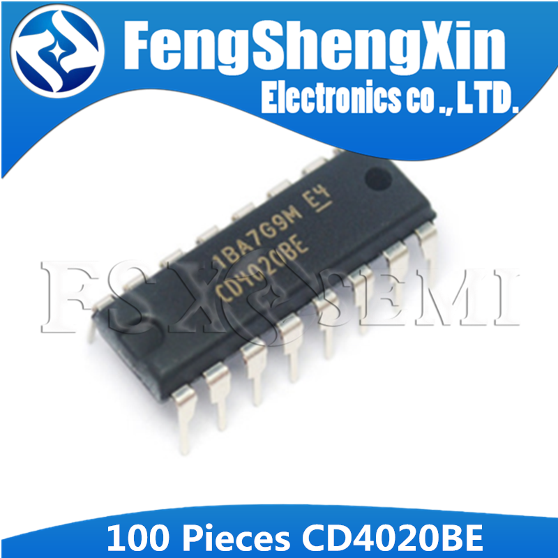100PCS <font><b>CD4020BE</b></font> DIP16 CD4020 DIP 4020BE DIP-16 CMOS RIPPLE-CARRY BINARY COUNTER DIVIDERS IC image