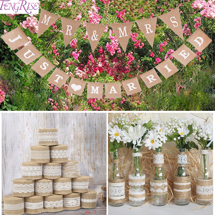 FENGRISE 2M Natural Jute Burlap Ribbon Rustic Wedding Decoration ...