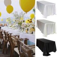 228x335cm preto casamento cetim toalha de mesa festa pano branco retângulo para decoração de eventos banquete hotel