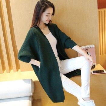 Long Cardigan Women Sweater Autumn Winter Bat Sleeve Knitted Sweater Plus Size Jacket Loose Ladies Sweaters Cardigans 3XL 7