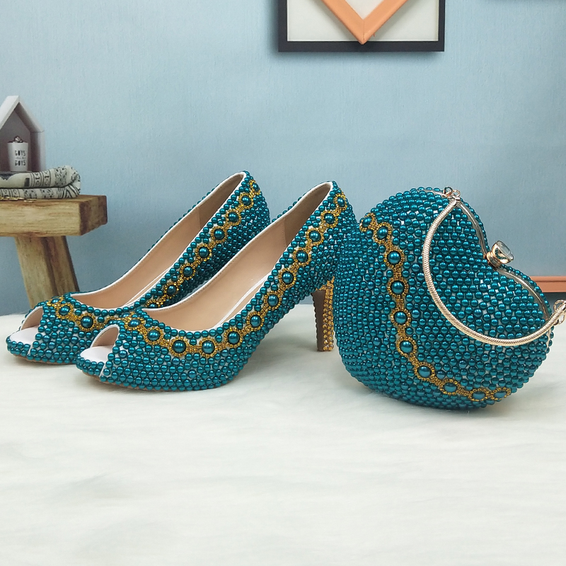 Teal Blue Pearl wedding shoes with matching bags party dress fashion High heels platform shoes Open Toe shoe Fish Toe green blue