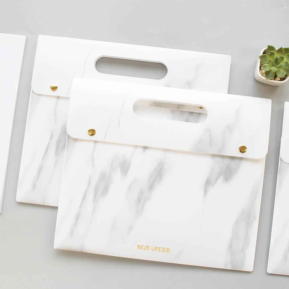 Waterproof A4 File Document Bag Folder Organize Portable Marble PP Expanding File Folder Document Bag School Office Supplies