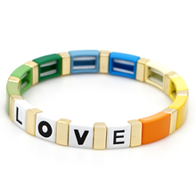 Shinus Tile Bracelet Women Rainbow Bangle Pulseras 2019 Love Letter Diy Bracelets Colorful Fashion  Jewelry Summer Beach Enamel цена