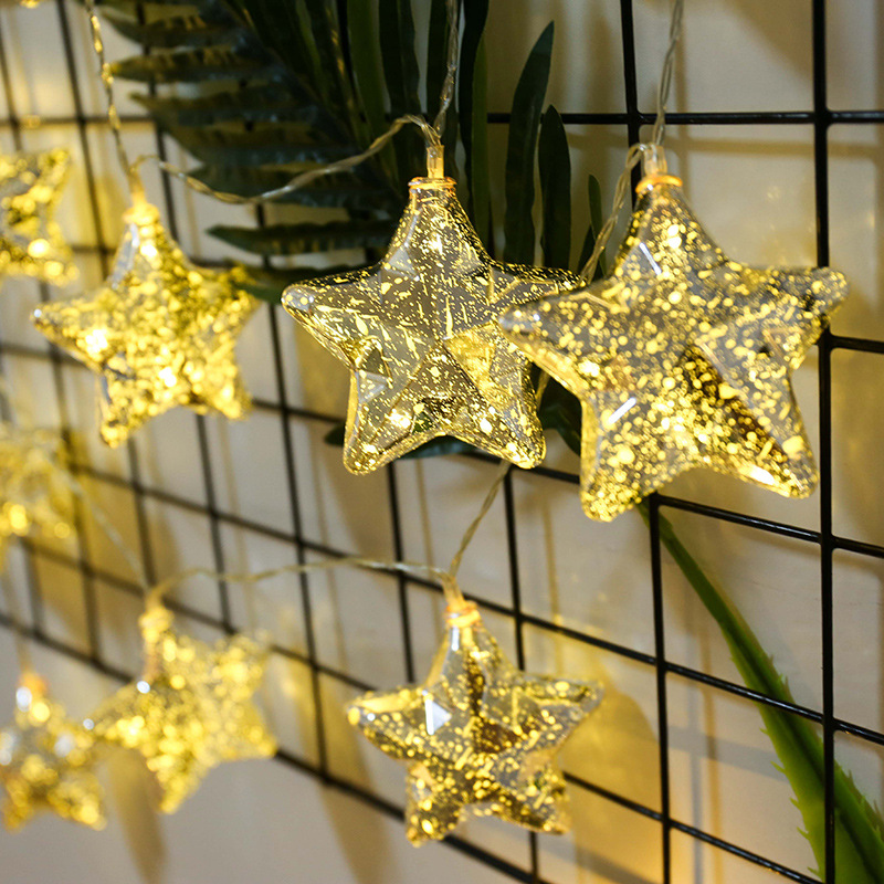 Platinum Silver Geometric Stars Battery Usb String Lights 3M Led Decor For Christmas Garland On The Window Adornos De Navidad