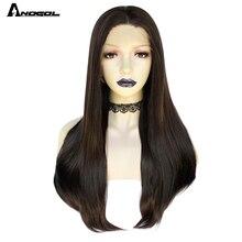 Anogol темно коричневый синтетические кружевные передние парики, Длинный натуральный прямой парик для женщин из высокотемпературного волокна