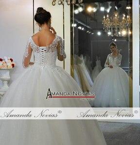 Image 4 - Vestidos de novias spitze kleid elegante neue hochzeit kleid schöne echt arbeit gleiche wie auf foto