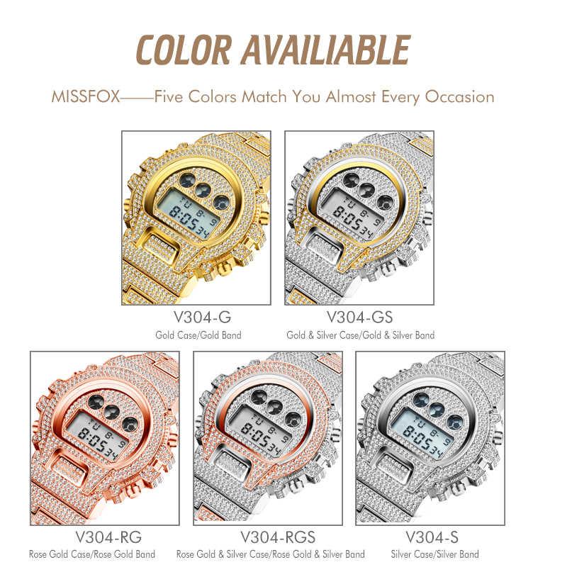 MISSFOX 다기능 g 스타일 충격 디지털 남성 시계 톱 럭셔리 브랜드 led 18 k 골드 시계 남자 힙합 남성 아이스 아웃 시계