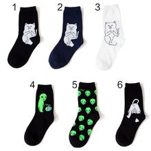 New Cotton Socks Art Funny Alien Planet Creative Cartoon Cat Breathable Fashion Unisex