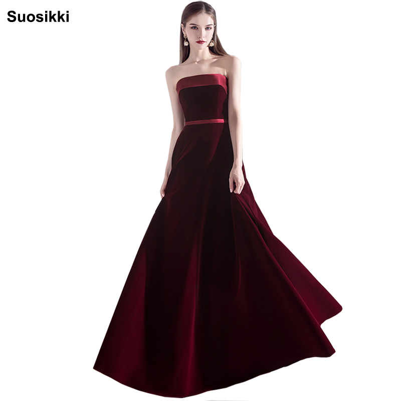 Prom Dresses 2019 Evening Party Dress Vestido De Festa Longo Suosikki Strapless Velvet  Formal Dresses Long