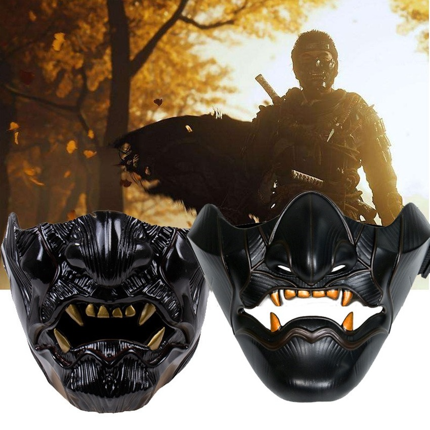 Takerlama Game Ghost Oni Horror Mask Half Face Jin Samurai Cosplay Resin Mask Full Face Mask Halloween Party Props