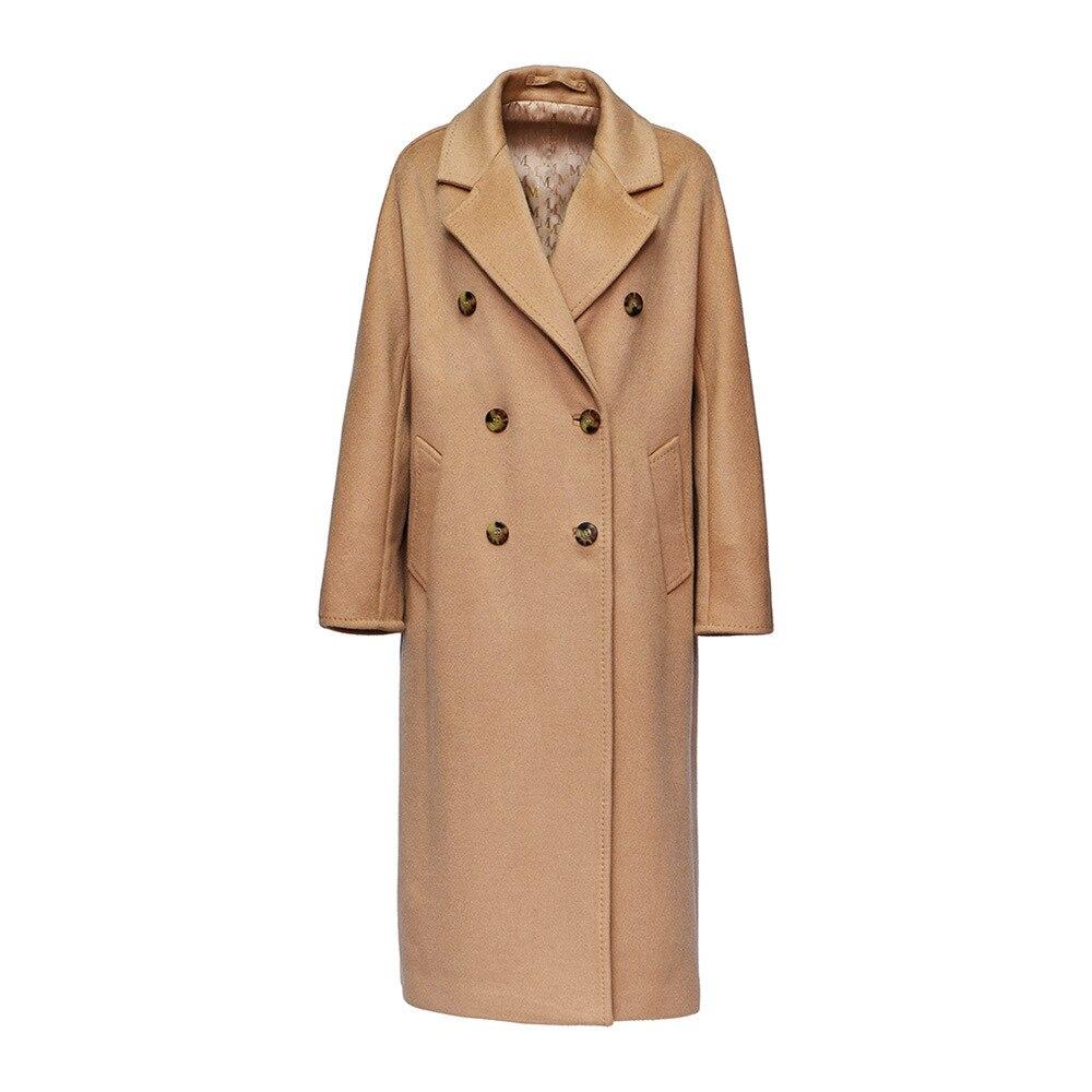 Оригинальный дизайн женское осеннее зимнее Элегантное повседневное теплое 100% шерстяное пальто двубортное с поясом розового/Красного размера плюс шерстяная куртка - 6
