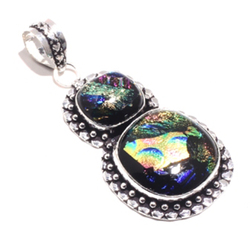 Genuine  Fancy Dichroic Glass  Pendant Silver Overlay over Copper , Hand made Women Jewelry gift, P8436