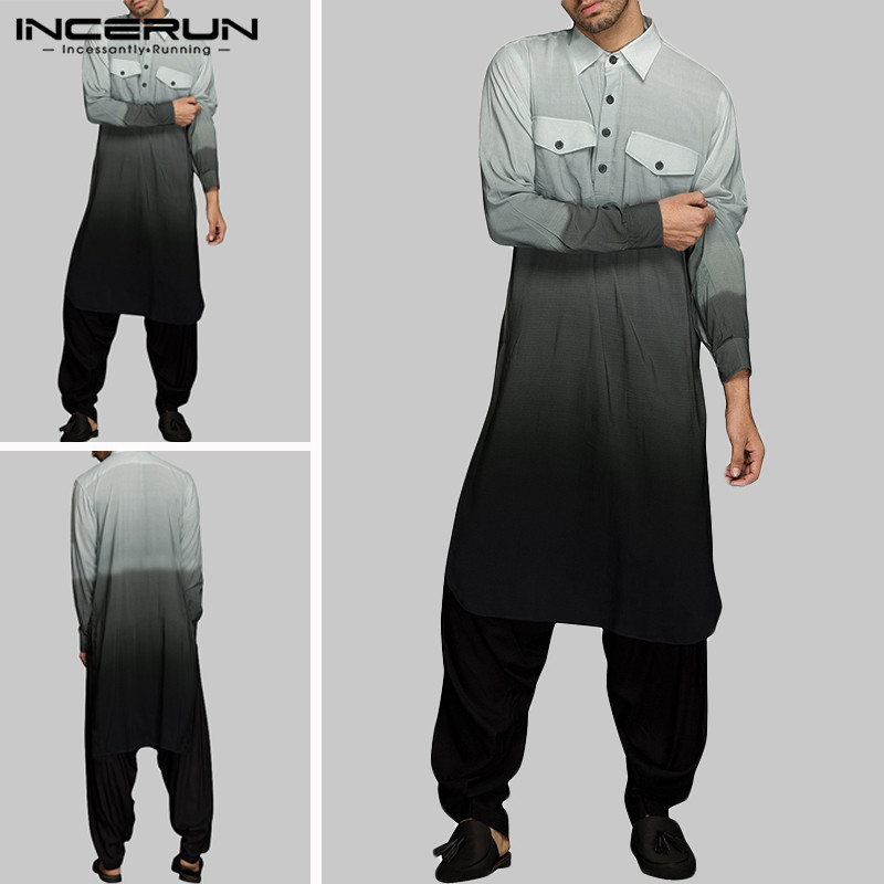 INCERUN Autumn Cotton Gradient Tops Men Lapel Long Sleeve Muslim Robe Casual Retro Kaftan Stylish Mens Cotton Joker Pullover 5XL
