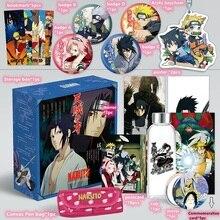 Anime Naruto Giocattolo Regalo SCATOLA Naruto Sasuke Sakura Modello Keychain Distintivo Spille Cartolina Tazza di Acqua Segnalibro Specchio Manifesto Frigo Sticker