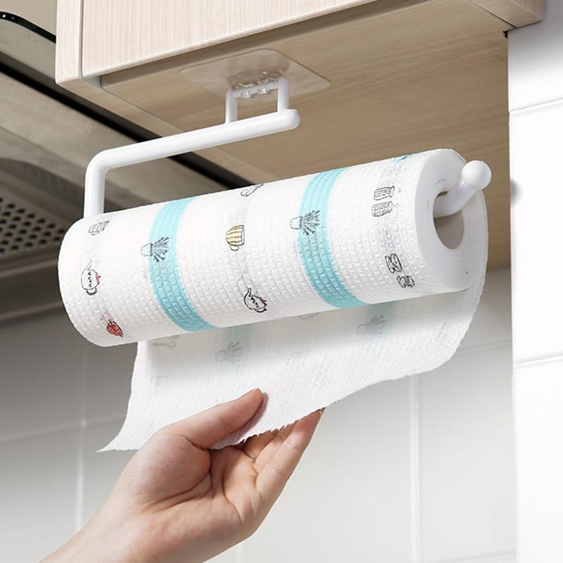 Kitchen Paper Roll Holder Towel Hanger Rack Bar Cabinet Rag...