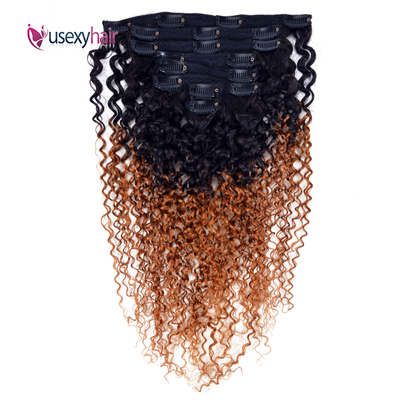 Mongolian Curly Clip In Human Hair Extensions For Black Women Full Head 120G Brazilian Remy Hair Ombre Color Clip Ins 8Pcs/Set