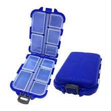 Mini boîte à 10 compartiments de rangement de matériel de pêche,étui de stockage d'appâts, cuillères, hameçons et de gadgets pour pêcher,