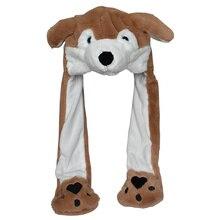 Douchow/милые плюшевые шапки с ушками коричневого волка и лапами для взрослых и подростков; костюм для мальчиков и девочек; зимние шапочки