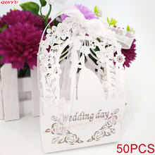 50 шт./лот, Свадебная коробка для конфет, лазерная резка, полый цветок, Подарочная сумка, бумажные коробки, свадебные сувениры и Подарочная коробка 6zSH107