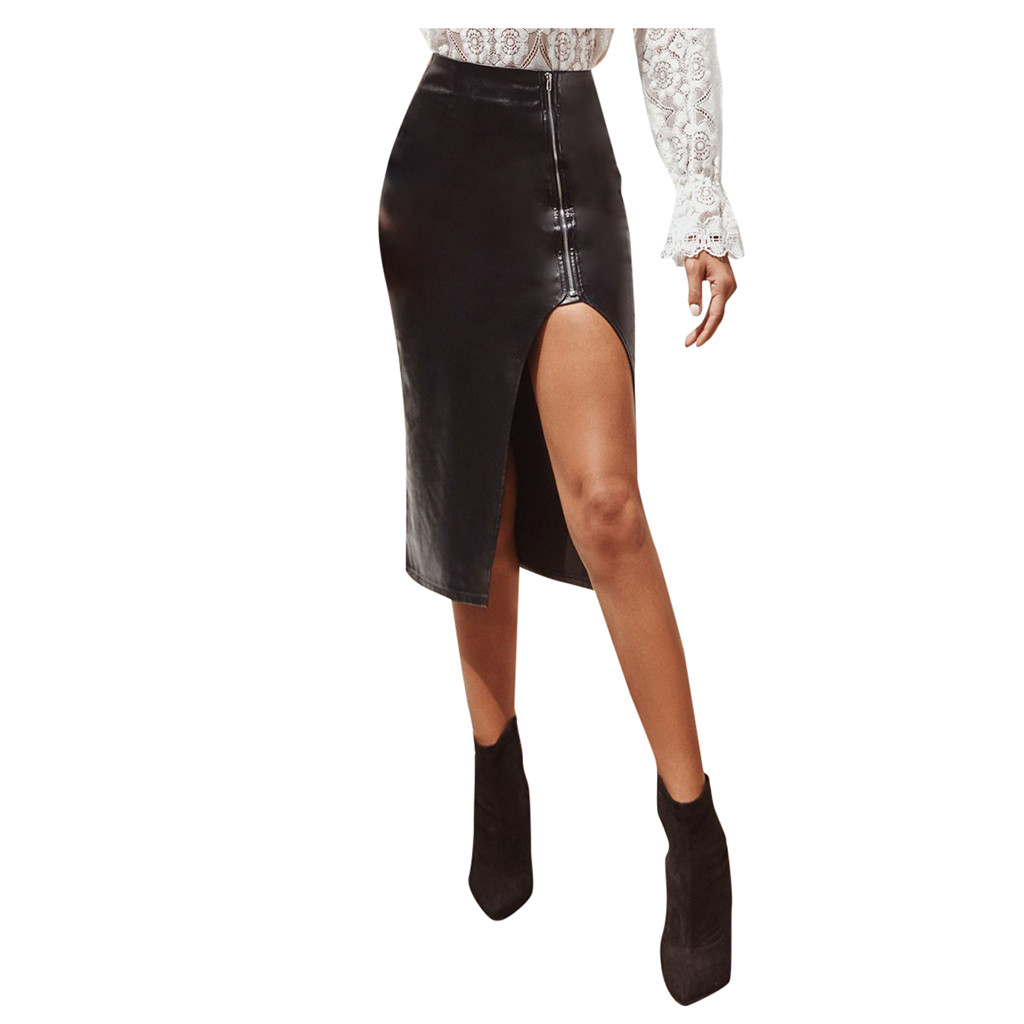High Split Knee- Length Womens's Sexy Asymmetrical Skirt PU Faux Leather High Waist Tight Skirt Straight Package Hip Skirt Black