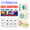 12 Rolls Toilet Paper 4 Layers Paper Bathroom Toilet Kitchen Paper Tissue Cleaning Paper Wood Pulp Paper Strong Water Absorption