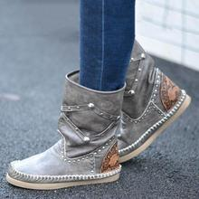 New Women Boots Fashion Ladies Shoes Faux Suede  Rivet Ankle Flat Heel Snow For Femme Size Plus