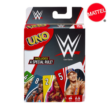 Mattel Games UNO WWE Card Game Family Funny Entertainment Board Game Poker Kids Toys Playing Cards iq car intelligence racing puzzle board game funny entertainment game play family party children educational toys