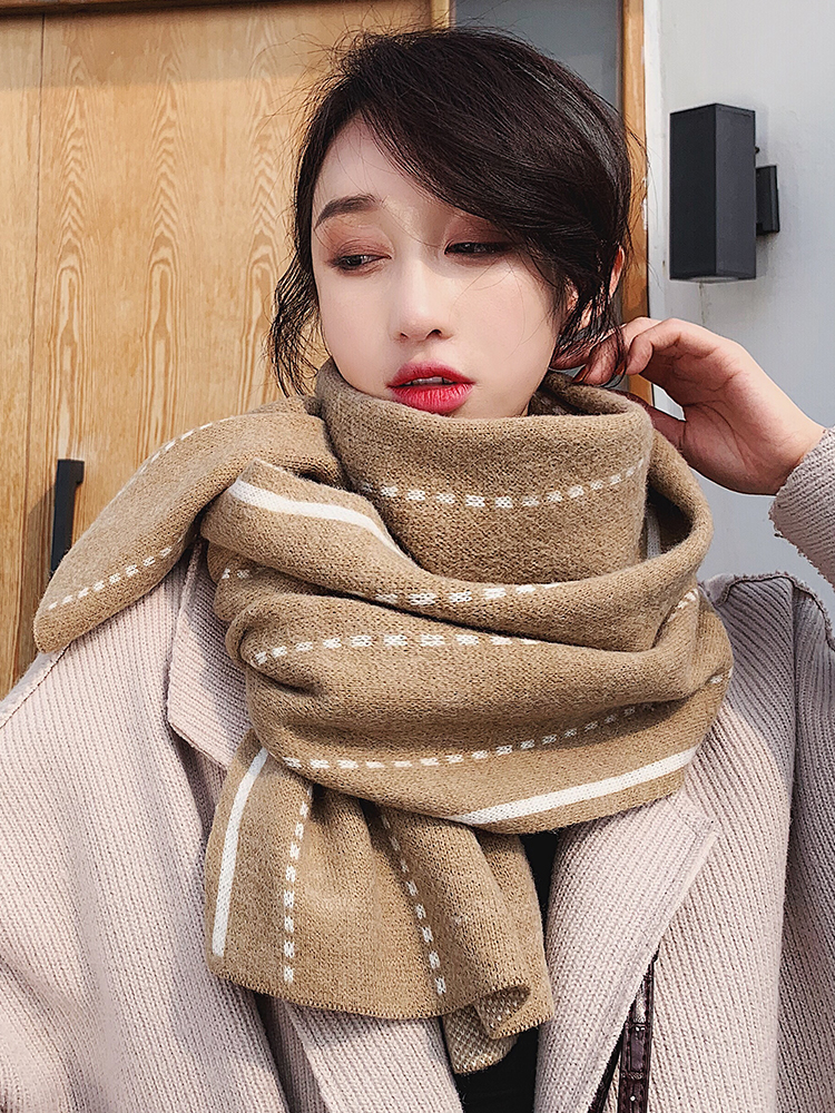 Ins Scarf Winter Korean Version Versatile Student Knitting Wool Thickened Warm Double-sided Bib In Autumn Winter Lovers Scarves
