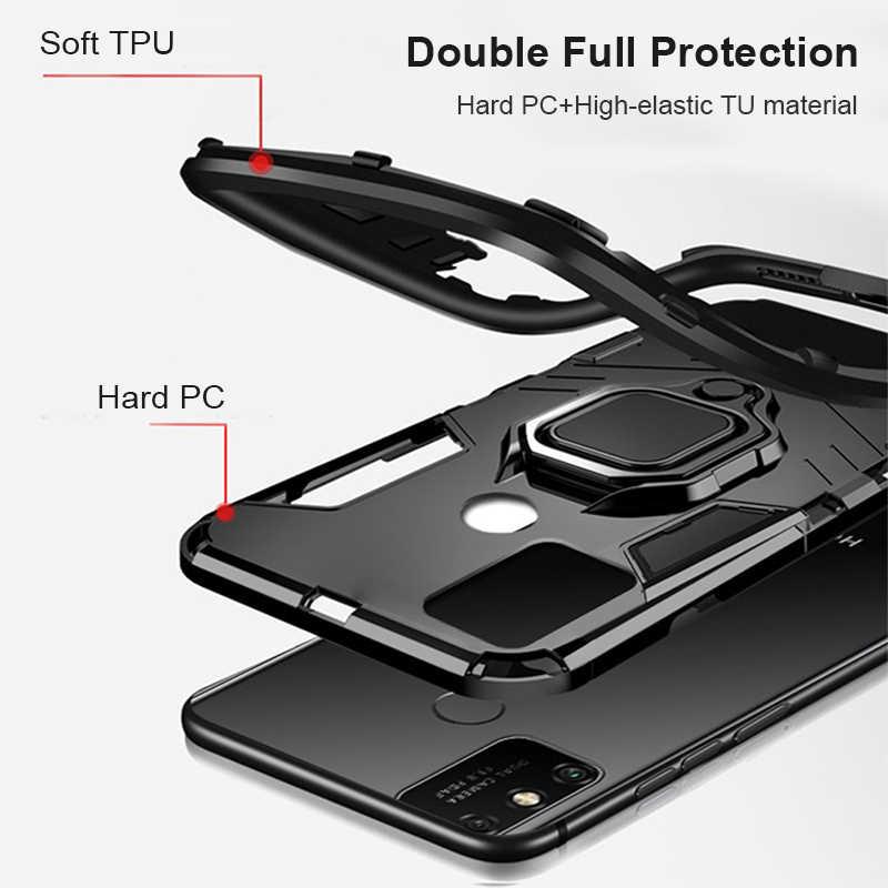 Shockproof Armor Case untuk Huawei Kehormatan 9a Kasus Di Kehormatan 9a 9x 9c 9S 9 A S X C berdiri Pemegang Mobil Magnetik Ring Phone Cover Coque