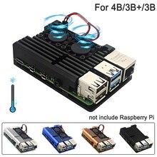 4-4b Metal-Case Protection-Cases Raspberry Pi Dual-Cooling-Fan RPI Aluminium-Alloy