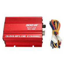 Aluminum Alloy Mini Car Motorcycle Home LED Indicator 12V 40W Audio Hi-Fi Universal Stereo Subwoofer 2 Channel Amplifier Power