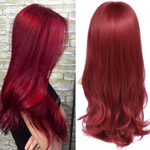 FAVE Premium Long Synthetic Lace Front Wig Red Body Wave Lace Middle Part Heat Resistant Cosplay Hair Wigs For Women