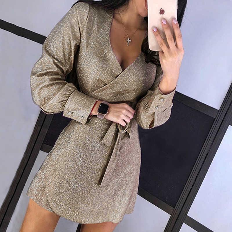 Seksowna dekolt w serek cekinowa obcisła sukienka kobiety jesień z długim rękawem brokat Mini sukienka złota elegancka bandaż Slim Party Dress Vestidos